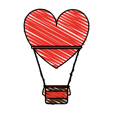 fly up: Heart shaped air balloon doodle over white background vector illustration