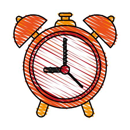 urgency: Alarm clock doodle over white background vector illustration