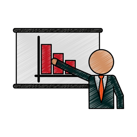coworker: Businessman with poster and bar graphic doodle over white background vector illustration