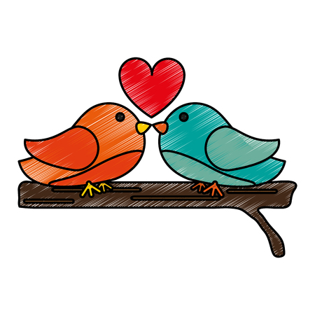 Lovebirds with heart doodle over white background vector illustration