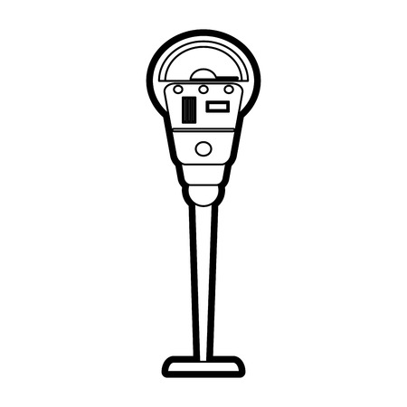 Flat line uncolored parking meter over white background vector illustration Ilustrace