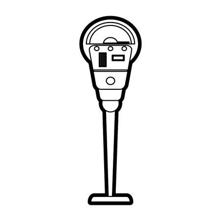 Flat line uncolored parking meter over white background vector illustration Illustration