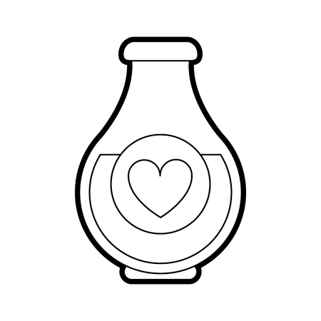 Flat line uncolored love potion over white background vector illustration