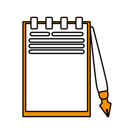 reader: Flat line yellow notebook and pen over white background vector illustration
