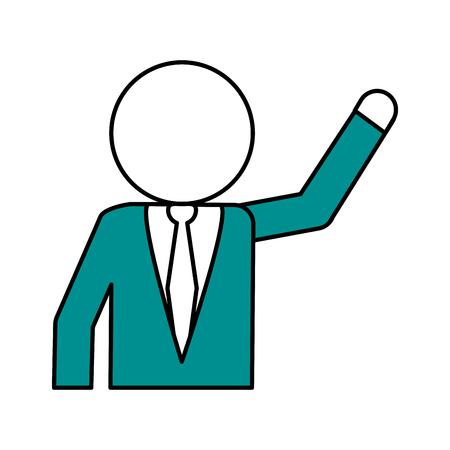 Flat line teal businessman over white background vector illustration