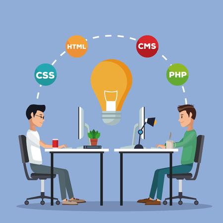 color background men worker in desk with computer programming language vector illustration
