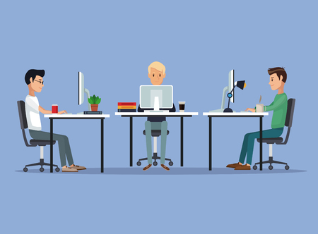 color scene background with web developer group men in desk programming language vector illustration