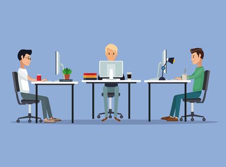 color scene background with web developer group men in desk programming language vector illustration