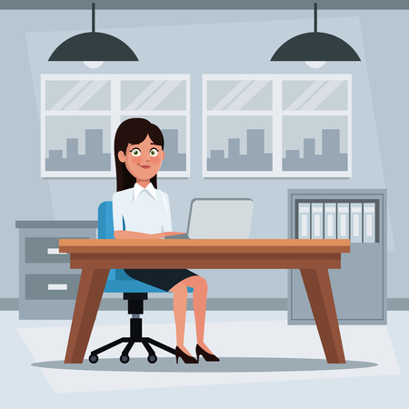 suit skirt: colorful background workplace office with executive woman sitting in a table desk in front of computer vector illustration Illustration