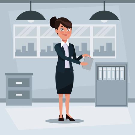 kleurrijk achtergrondwerkplaatsbureau met uitvoerende vrouw die zich met documenten vectorillustratie bevinden Stock Illustratie
