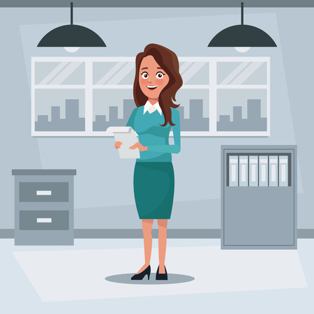 colorful background workplace office with executive woman with brown long hair standing with documents vector illustration