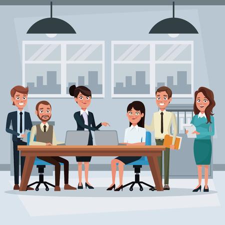 bureau de travail de fond coloré avec des cadres de travail d'équipe travaillant illustration vectorielle