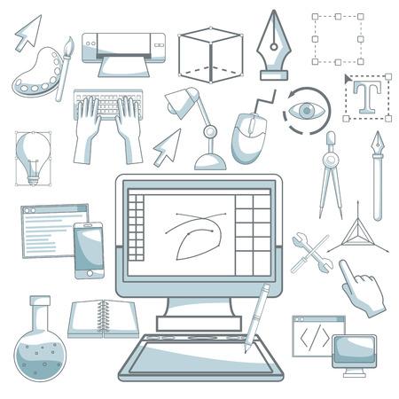 compas de dibujo: Fondo blanco con silueta secciones de color sombreado de dispositivo de escritorio de la computadora y elementos de diseño gráfico ilustración vectorial