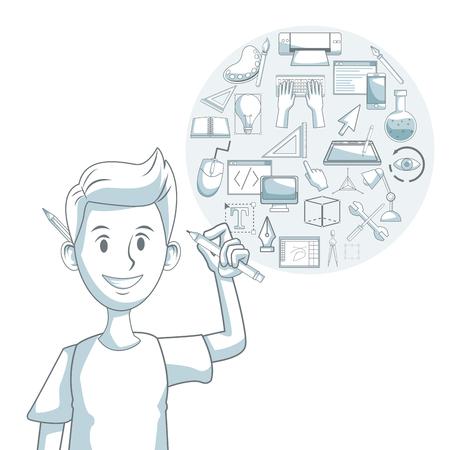 compas de dibujo: Fondo blanco con silueta secciones de color sombreado del diseñador de chico con elementos de diseño gráfico ilustración vectorial
