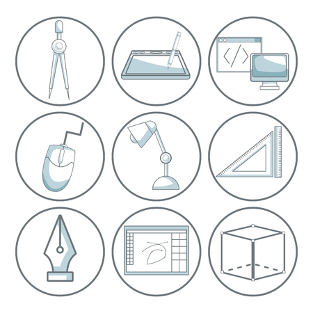 compas: scene silhouette color sections shading of set collection icons elements graphic design on circular frame vector illustration Illustration