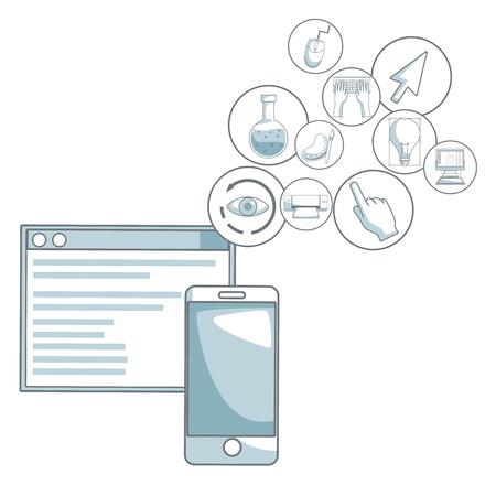 compas de dibujo: fondo blanco con secciones de color de silueta sombreado de teléfono móvil y programa de ventana con iconos flotantes diseño gráfico ilustración vectorial Vectores