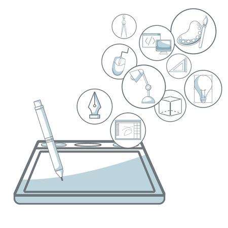 compas de dibujo: Fondo blanco con silueta secciones de color sombreado de digitalizador con la pluma con iconos flotantes diseño gráfico ilustración vectorial Vectores