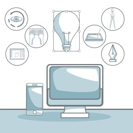 compas de dibujo: Escena silueta secciones de color sombreado de la pantalla de tecnología de la computadora y elementos de diseño gráfico ilustración vectorial.