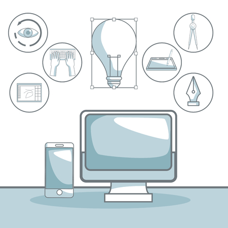 Scene silhouette color sections shading of tech display computer and elements graphic design vector illustration.