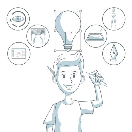 compas de dibujo: Fondo blanco con secciones de color silueta sombreado de diseñador de hombre e iconos de elementos de diseño gráfico ilustración vectorial.