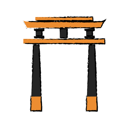 japan gate torii architecture landmark vector illustration