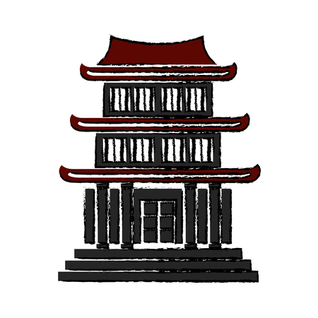 chinese building ancient temple tower pagoda vector illustration Illustration