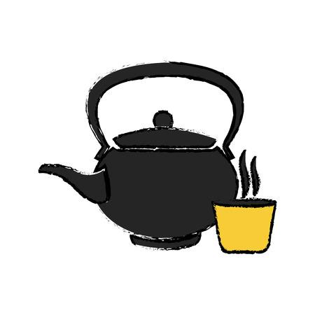Japanse ketel theepot keramische drank vectorillustratie Vector Illustratie