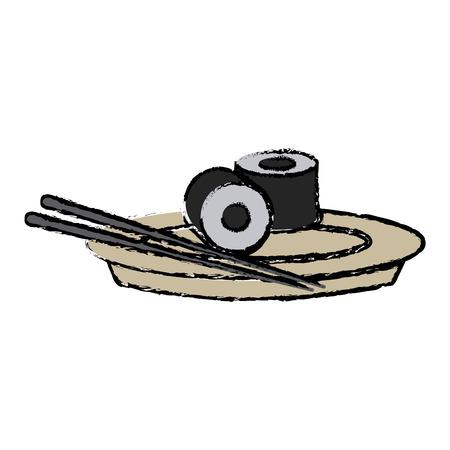 japanese sushi food dish stick culture vector illustration