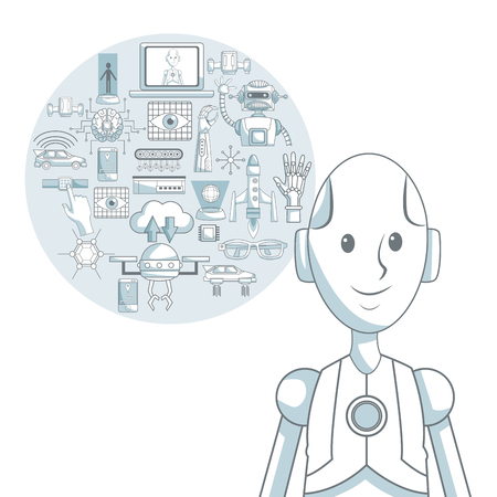 bionic: white background with silhouette color sections shading of closeup robot and set elements futuristic in circular frame vector illustration