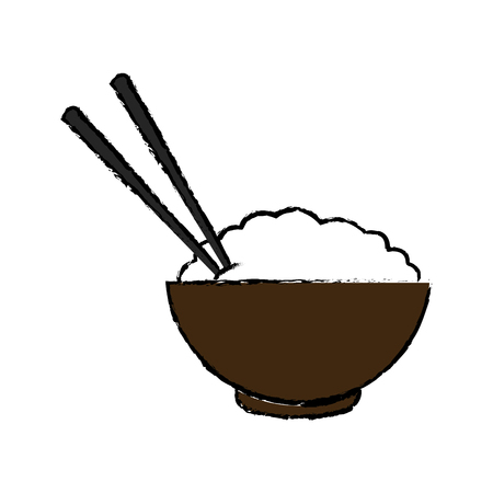 bowl of rice and chopsticks cooked dinner asian vector illustration