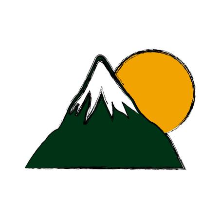 mount fuji sun japan landscape natural image vector illustration Illustration