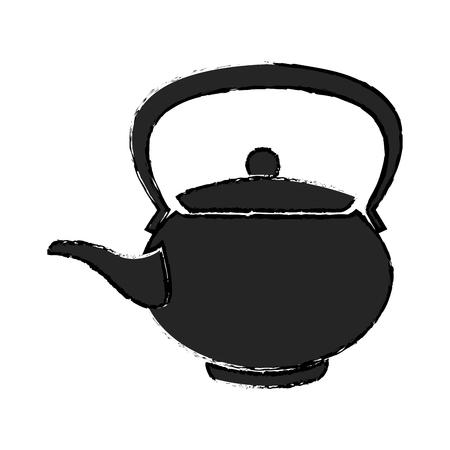 teapot ceramic japanese culture traditional vector illustration