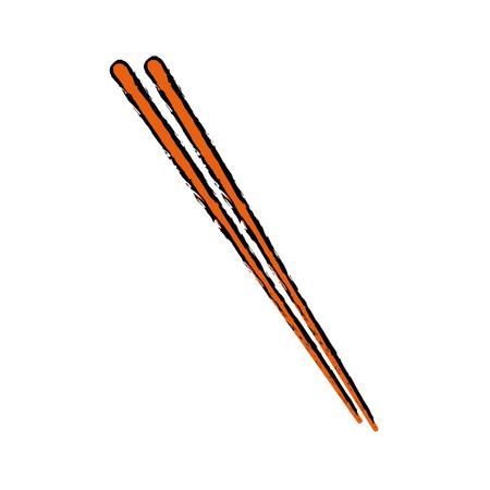 stick wooden food japanese utensil vector illustration