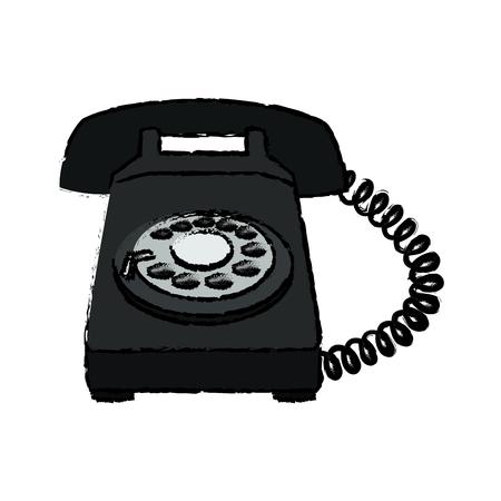 Telephone communication dial electronic device image vector illustration. Illustration