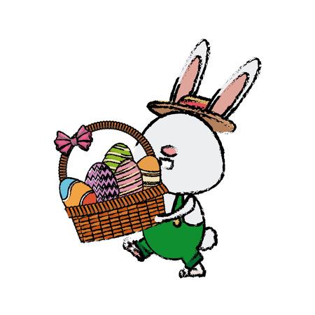 funny easter rabbit with basket egg image vector illustration Illustration