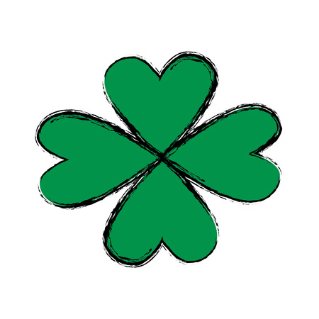 patric icon: st patricks day celebration fourleaf clover image vector illustration Illustration