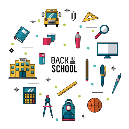 A color poster of back to school with essential elements of school vector illustration. Illustration
