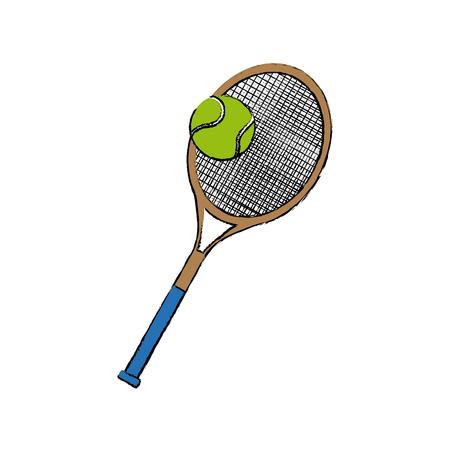 A tennis racket and ball sport equipment vector illustration.