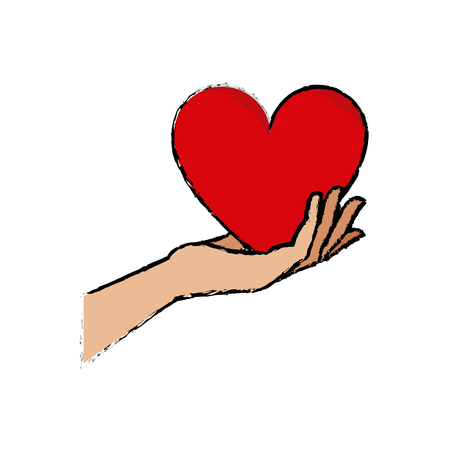 hand holding heart blood donation symbol vector illustration Illustration