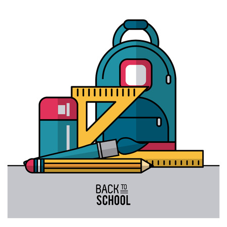 niño parado: color poster of back to school with backpack and essential elements of school in closeup vector illustration Vectores