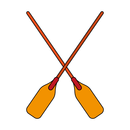 wooden paddles over white background vector illustration