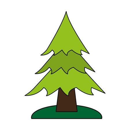 白い背景のベクトル図の上の松の木