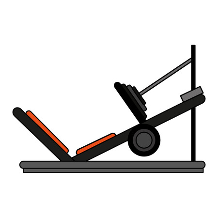 Incline leg press over white background vector illustration
