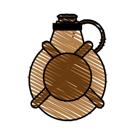 canteen doodle over white background vector illustration