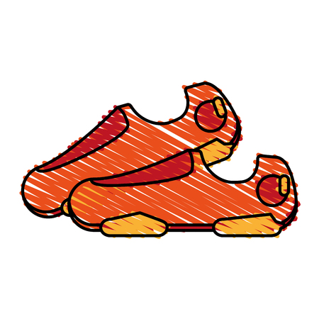 training shoes doodle over white background vector illustration