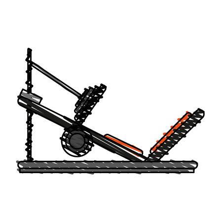 incline leg press doodle over white background vector illustration
