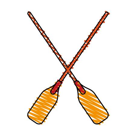 paddles doodle over white background vector illustration