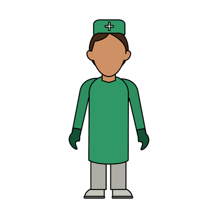 Colorful nurse man over white background vector illustration
