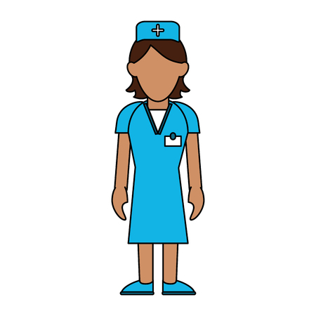 group therapy: Colorful nurse woman over white background vector illustration