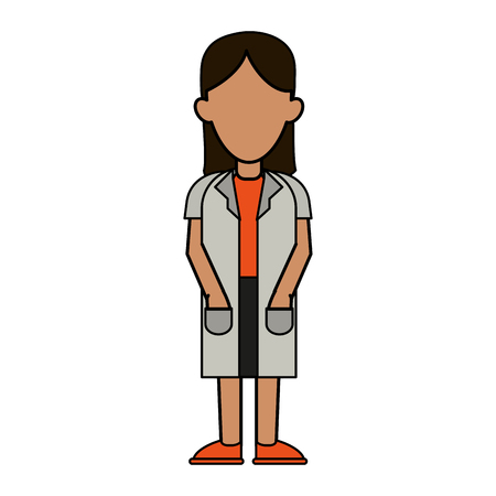 white coat: Colorful woman in white coat over white background vector illustration